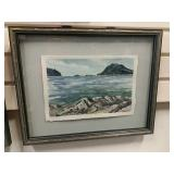 Framed Watercolor Starfish At Williams Point -