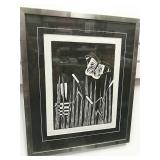 Black And White Artist Print On Paper With Bamboo