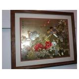 Framed Japanese Print Foil Etching, Birds & Floral