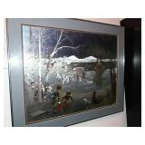 Framed Print Foil Etching Winter Forest Scene