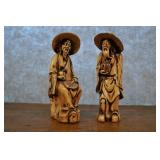 "Pair Asian Elder Men, Ceramic Figurines, 9""h"