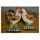 Rooster And Hen Wall Hangers, Ceramic, Vtg