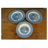 Courier & Ives Dishware, Blue And White, 3 Pcs