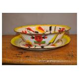 Enamelware Party Platter & Bowl Set, Vintage