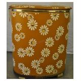 Vintage 50s Clothes Hamper Brown W/ White Daisies