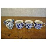 Blue And White Tea Cups And Vase.