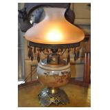 Table Lamp, Antique, Glass & Brass