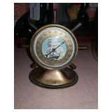 Brass Thermometer Ships Wheel, Glass Front,
