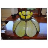 Large Antique Slag Glass Lamp Shade