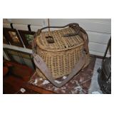 Fishing Creel Basket, Vintage, Woven Willow