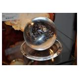 Clear Glass Paperweight, Signed