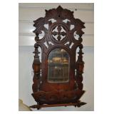 Carved Wood Shaving Mirror, Antique
