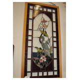 Heron Stained Glass Window With Frame.