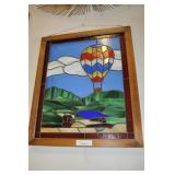 Hot Air Balloon Stained Glass Window With Frame