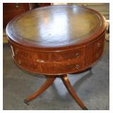 Drum Table, Vintage, Leather Top