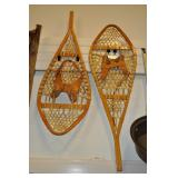 Snowshoes, Vintage, Wood And Animal Hide