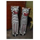 2 Wooden Cats Black And White Striped. 18""