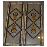 Pair Stained Glass Window Panels