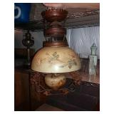 Victorian Antique Lamp And Shade, Electrified.