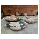 "3 Duck Decoys, Painted Styrofoam, 17"", Rough"