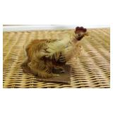Folk Art Chicken, Vintage, Real Feathers,