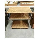Rolling 3 Shelf, Rattan, 28.5x25x15.5