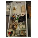 Assorted Figurines, Vases, Jewelry Trays,