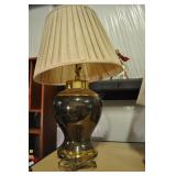"Bronze And Brass Lamp, Vintage 32"" High"