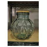 Large Onion Jar, Soda Green Glass, 11""