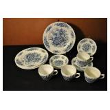 Dish Set, Vintage, Blue And White Floral Pattern,