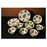 Dish Set, Vintage, Berry And Fruit Pattern,