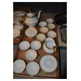 Tea Set, Vintage, White With Gold And Black Accens