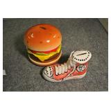 "Ceramic Banks, Shoe 7"", And Cheeseburger 7"","