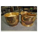 Brass Planter Containers, Pair, 9""