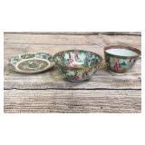 3 Pieces Famille Rose Porcelain