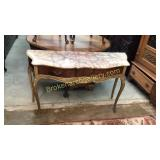 French Provincial Style Console W Marble Top