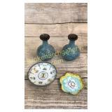 Pair Cloisonné Vases, Dish, Pewter Rimmed Dish