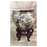 Asian Garden Fishbowl Planter on Stand