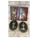 2 Pair Asian Lacquered  Wall Panels