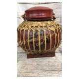 Asian Lacquered Bamboo Rice Basket