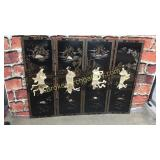 4 Lacquered Asian Panels, Applied Hard Stone