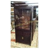 Carved Rosewood Asian Display Cabinet