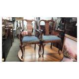 2 Period Queen Anne Burke Walnut Armchairs