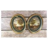 Pair Oval Hand Painted Landscapes