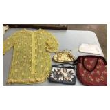 4 Vintage Purses, Pearl Shirt & Sequined Dress