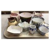 10 Pcs Assorted Transfeware, Porcelain & Pottery