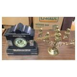 Ansonia Marble Temple Clock, Brass Candelabra
