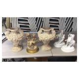Pair Urns, Figural Statue, Bisque Figurines