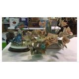 Birds, Jade a Tree, Metal and Ceramic Centerpiece