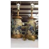 Pair Decorator Lamps, Hand Painted Storage Box